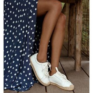 Soludos Izzy Lace-Up Espadrille Sneakers Cream 7